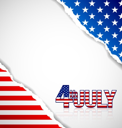 American document background made of torn papers with 4th july title Vector