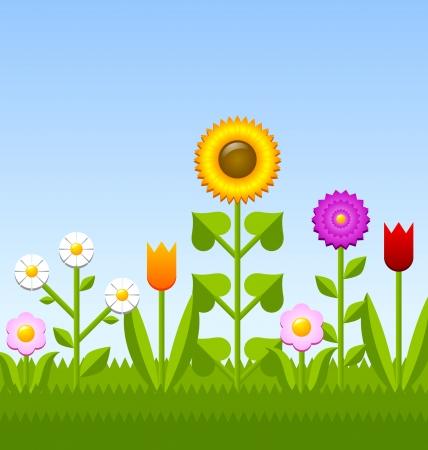 sunflower field: Idyllic flower garden with grass and blue sky Illustration