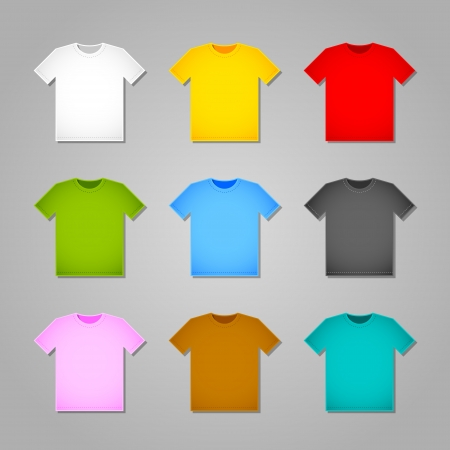 Simple T-shirt templates isolated on grey background Vector