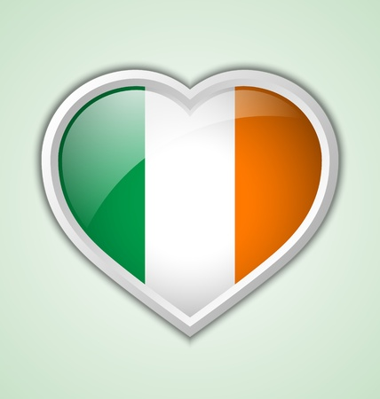 Glossy irish heart icon isolated on pale green background Vector