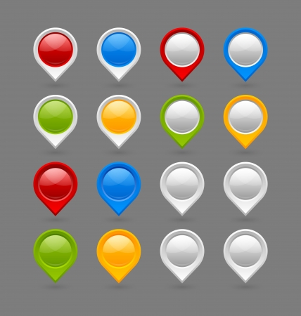 Set of map mark pointers isolated on grey background Çizim