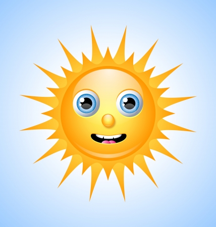 Cute Sun character on light blue sky Vector
