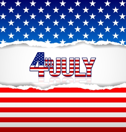 American background made of torn papers with 4th july title Stock Vector - 21036677