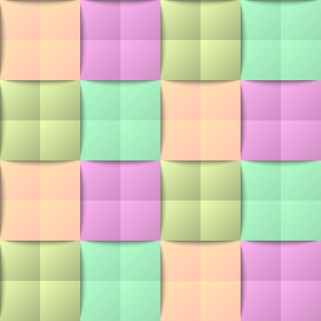 Three dimensional colorful seamless pattern in pastel style Vector