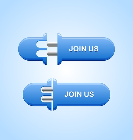 subscribing: Two stages of Join us button on light blue background