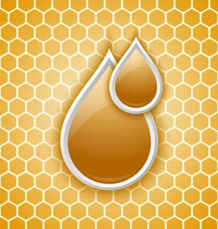 Two honey drops icon on honeycomb background Vector