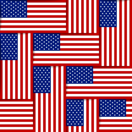Seamless pattern composed from national flags of the United States of America Ilustração