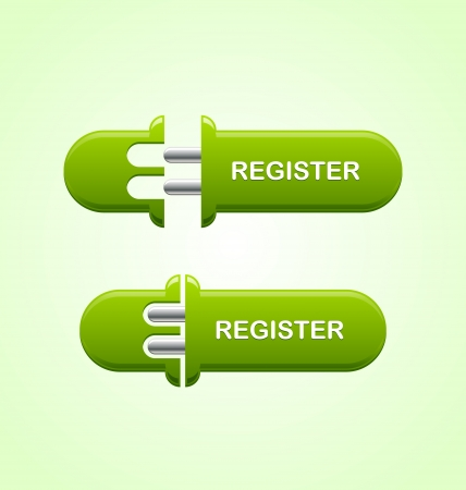 Two stages of Register button on light green background Vector