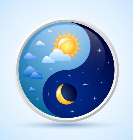 dia y noche: Día y noche, yin yang símbolo en fondo azul claro