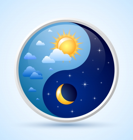 esoteric: Day and night yin yang symbol on light blue background