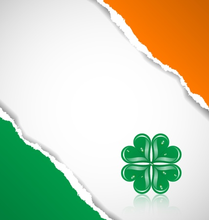 Irish flag background made of torn papers with clover Vector