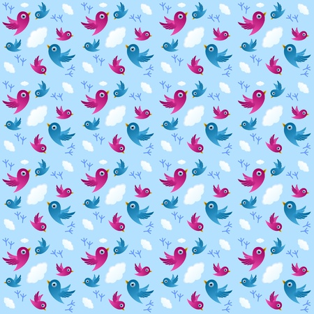 Seamless pattern with birds, clouds and footprints on light blue background Vector