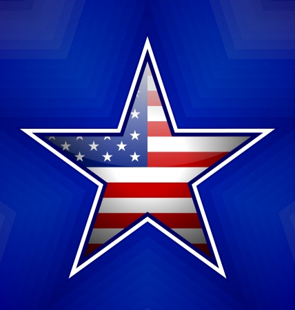 American star badge on blurred blue background Stock Vector - 21890831