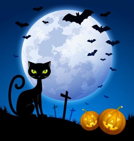 Creepy Halloween scene with full moon, black cat, bats and carved Jack-o'-lantern pumpkins