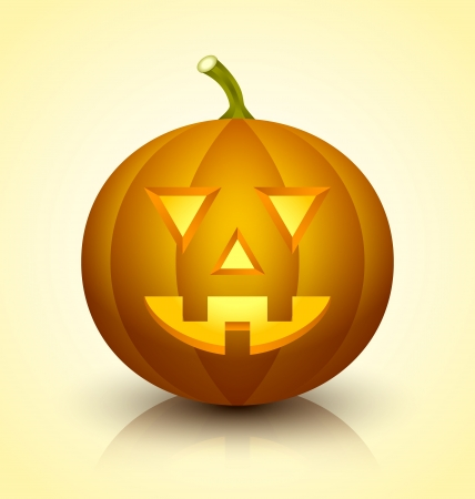 jackolantern: Carved Jack-o-lantern Halloween pumpkin icon on light yellow background