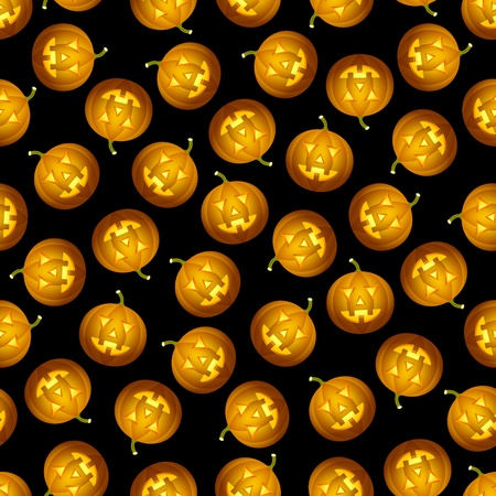 Seamless tileable pattern with Halloween pumpkins randomly placed on black background