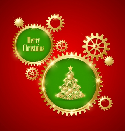 Golden clockwork Christmas tree made of cogwheels with golden cogwheel gear decoration Vector