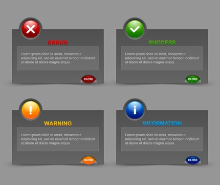알림: 맞춤형 웹 디자인 및 컴퓨터 목적에 적합한 통지 윈도우 일러스트