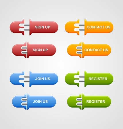 Set of sign up, join us, contact us and register buttons isolated on pale grey background Vector