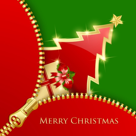 Golden and red Christmas tree and gift decoration with unzipped zipper on green background Vector