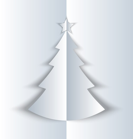 Simple Christmas tree made of folded paper with shadow Stock Vector - 22020721