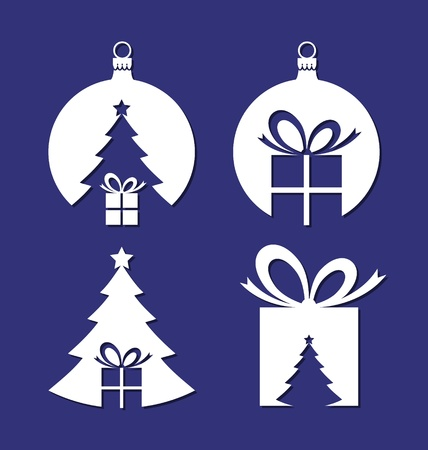 negative space: Simple negative space Christmas icons isolated on blue background Illustration