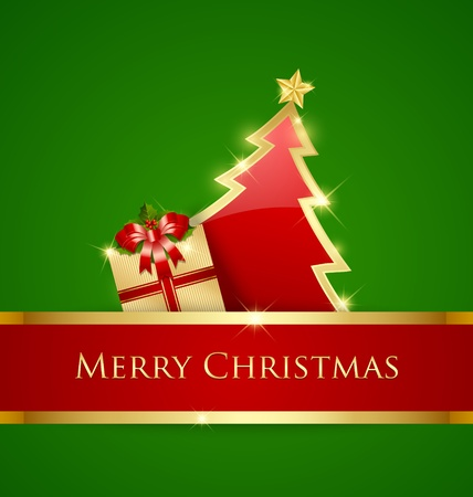 Golden and red Christmas tree and gift decoration on green background Vector