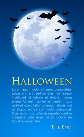 Full moon with bats on Halloween night document template