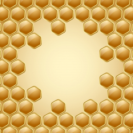 Honey comb: Golden and glossy honeycomb background with space for your text Illustration