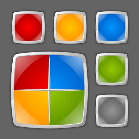 Colorful glossy icon or button backgrounds suitable for custom design Stock Vector - 22176348