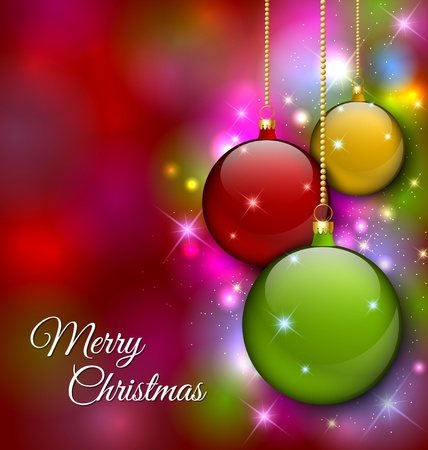 magenta decor: Merry Christmas decoration with baubles and magical glittering effect in the background Illustration