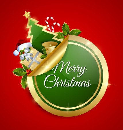 Green and golden Merry Christmas sticker with traditional decorations placed on red background Vector