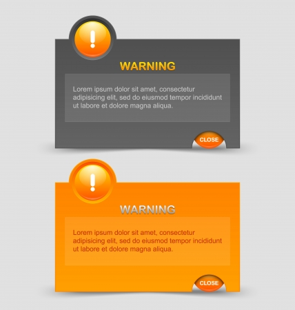 Two styles of notification warning windows isolated on pale grey background
