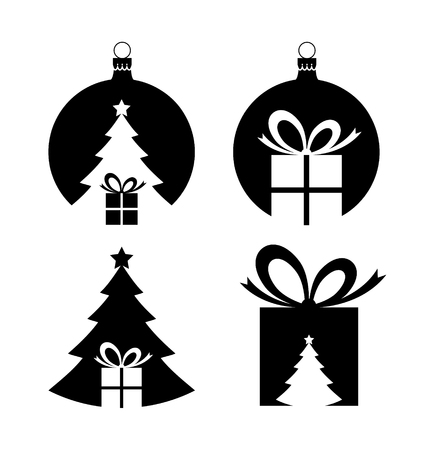 Simple negative space Christmas icons isolated on white background Vector