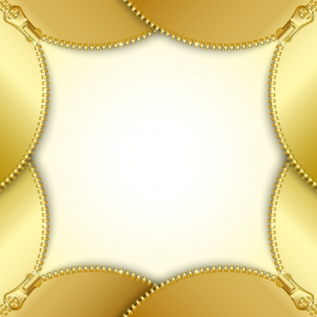 undressing: Stylized document template background made of four golden unzipped zippers Illustration