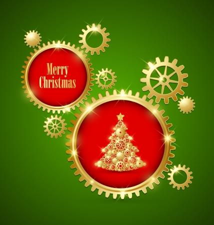 Golden clockwork Christmas tree made of cogwheels with golden cogwheel gear decoration Vector