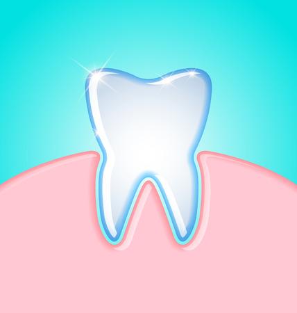 decayed teeth: Diente simple en la ilustraci�n de goma en el fondo turquesa