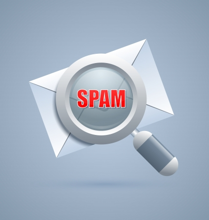 deleterious: Injurious spam message identification icon on blue background