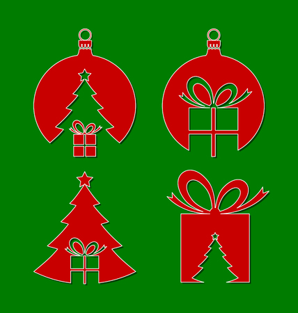 Simple negative space Christmas icons isolated on green background Vector