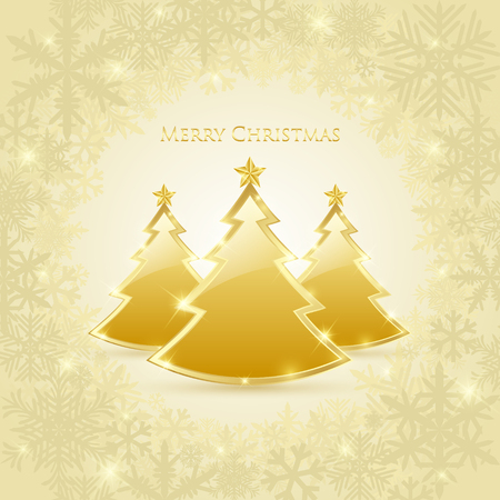 Three golden and glossy Christmas trees placed on frosty winter background Vector