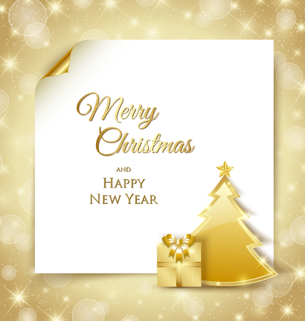 Golden Christmas tree and gift document template on shiny golden background Vector