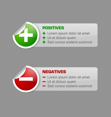 Positieven en negatieven stickers met semi transparante banners geïsoleerd op een grijze achtergrond