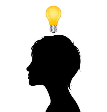 black woman white man: Woman silhouette with idea depicted by light bulb isolated on white background