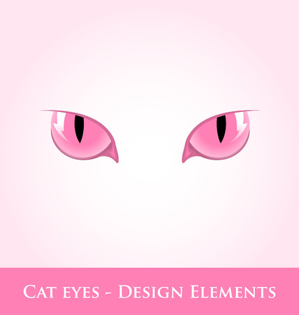 domestic cat: Pink cat eyes design element isolated on pale background