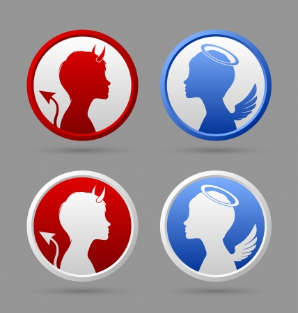 Angel and devil icons or badges isolated on grey  Ilustrace