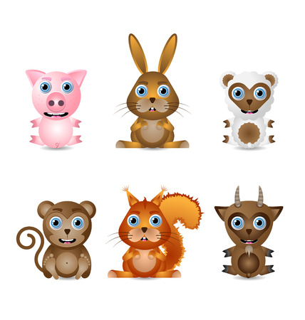 Set of cute animal characters isolated on white