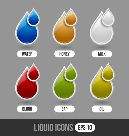 Set of glossy liquid icons isolated on grey background