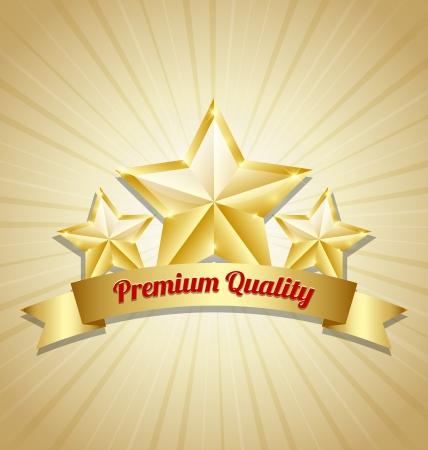 Three golden stars symbol with Premium quality ribbon Ilustração