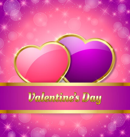 valentines day background: Valentines Day card template with glossy hearts and glittering effect in the background
