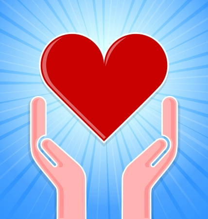 caring hands: Caring hands with red heart on blue background with rays